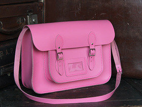 Classic Pink Leather Satchel 15 Inch Thumbnail