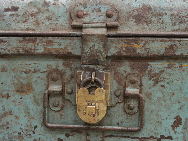 Distressed Pale Blue Metal Travel Suitcase  Thumbnail