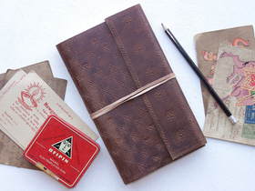 Embossed Large Leather Travel Journal  Thumbnail