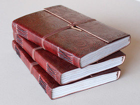 Extra Large Embossed Leather Journal With Handmade Paper Thumbnail