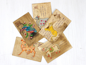 View our  Hand Painted Vintage Indian Postcard - Mix Set of 5 from the  For The Home collection
