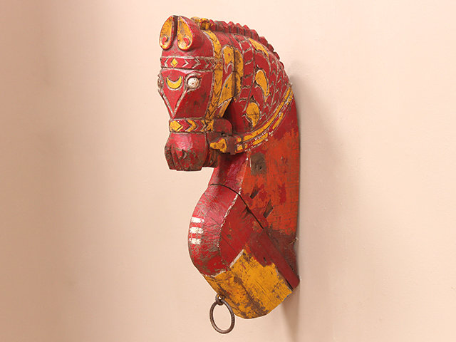 Large Antique Painted Marwari Horse Head Thumbnail