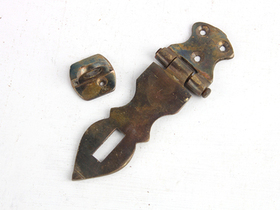 Large Antique Style Brass Hasp And Staple Thumbnail