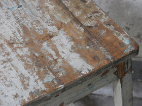 Large Old Blue Rustic Stool Thumbnail