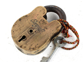 Large Old Brass Padlock Thumbnail