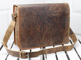 Leather Messenger Bag Medium 15 Inch Thumbnail