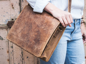 Leather Messenger Bag Small 13 Inch Thumbnail