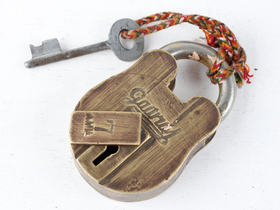 Medium Old Brass Padlock Thumbnail