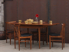 Mid-century Wooden Extending Dining Table And Chairs Thumbnail
