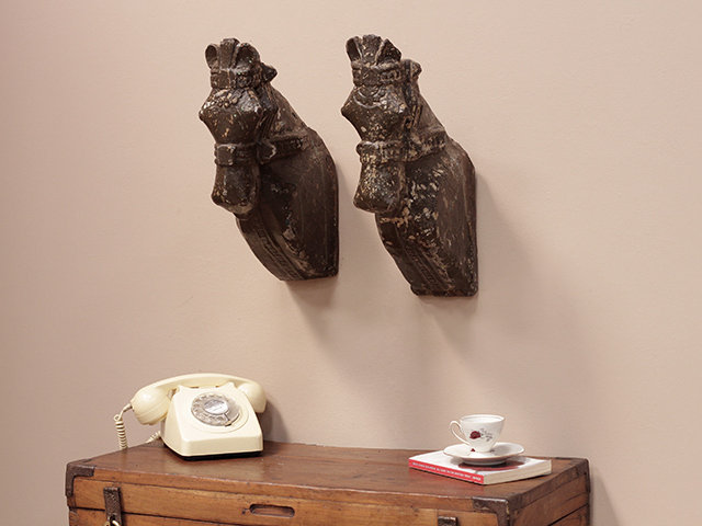 Old Painted Marwari Horse Heads (Pair) Thumbnail