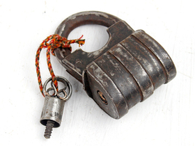 Large Antique Screw Padlock Thumbnail