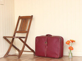 Red Retro Leather Suitcase Thumbnail