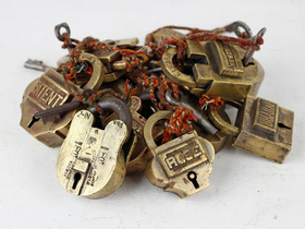 Small Old Brass Padlock Thumbnail