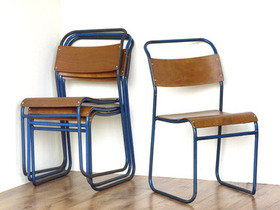 Stacking Vintage Chairs By Remploy (Pair in Blue) Thumbnail