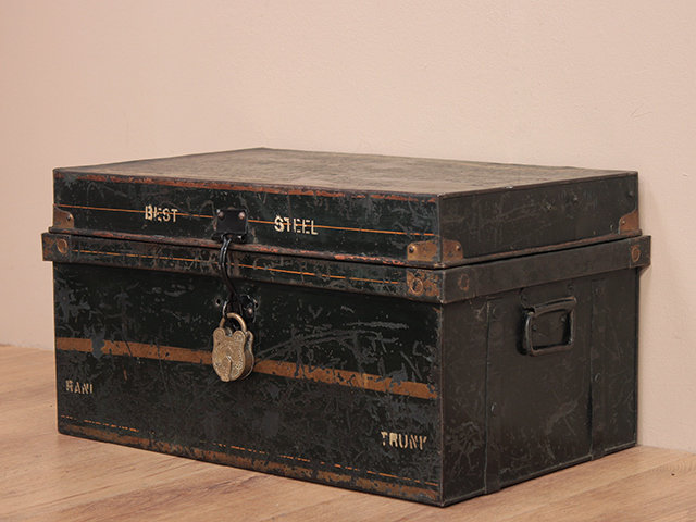 Vintage Black Metal Trunk Thumbnail