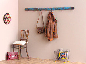 Vintage Blue Coat and Hat Hook Rack  Thumbnail