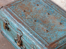 Vintage Blue Metal Trunk Thumbnail