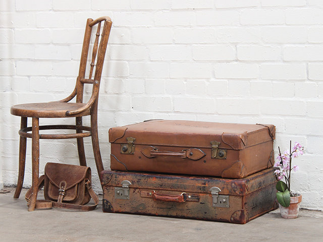 Vintage Leather Travel Suitcase by Baker and Co Thumbnail