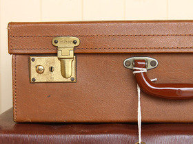 Vintage Light Tan Suitcase by Watajoy (C) Thumbnail