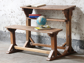 Vintage School Desk And Bench Thumbnail