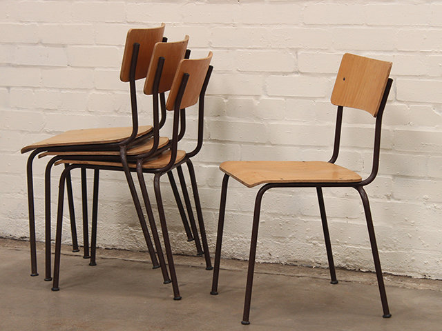 Vintage Stacking Metal-Frame Chairs by MFI Thumbnail