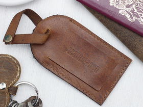 Vintage Tan Leather Luggage Tag Thumbnail
