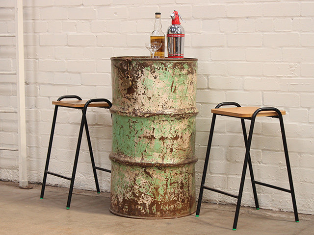 Vintage Upcycled Metal Table and Storage Drum Thumbnail
