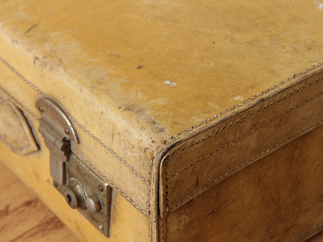 Vintage White Vellum Leather Suitcase Thumbnail