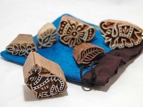 Wooden Printing Blocks 6 piece set (Animal + Mini blocks) Thumbnail