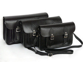 Classic Black Leather Satchel 13 Inch Thumbnail