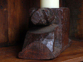 Old Ram Wooden Candle Holder 803 Thumbnail