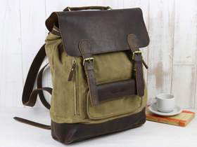 Large Leather and Canvas Backpack For Men Thumbnail