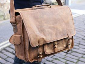 """18/"""" Men/'s Distressed Vintage Leather Brown Messenger Laptop Satchel Shoulder Bag"""