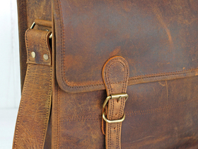 Large Vintage Leather Satchel 16 Inch Thumbnail