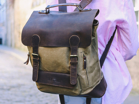 Leather and Canvas Backpack For Women Thumbnail
