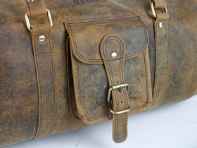Leather Barrel Gym Bag Thumbnail