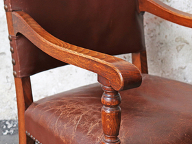 Antique Leather Dining Chairs - set of 4 Thumbnail