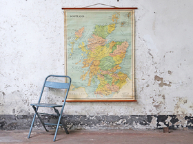 Old School Canvas Wall Map - Scotland Thumbnail