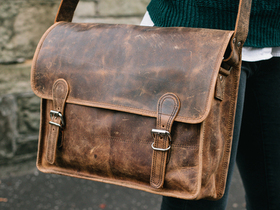 More views of Medium Vintage Leather Satchel 15 Inch