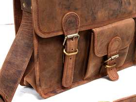 Medium Vintage Leather Satchel 15 Inch With Pocket & Handle Thumbnail