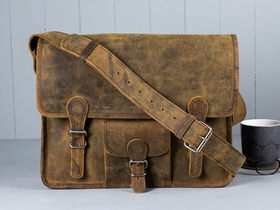 Medium Vintage Leather Satchel With Front Pocket 15 Inch Thumbnail