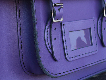 Boys And Girls Classic Purple Leather Satchel 15 Inch With Handle Thumbnail
