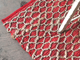 Red Tile Design Cotton Rug Thumbnail