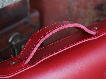 Classic Red Leather Satchel 15 Inch With Handle Thumbnail