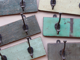 View our  Green 2-Hook Coat Rack from the  Vintage Wooden Coat Hooks collection