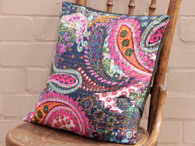 Navy Blue Floral Handstitched Cushion Cover Thumbnail