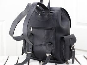 Black Leather Backpack For Men Thumbnail