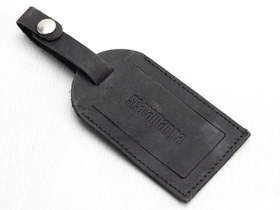Black Leather Luggage Tag Thumbnail