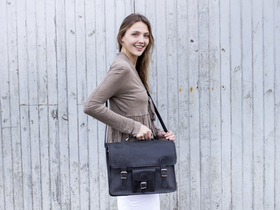 View our Junior Black Medium Vintage Leather Satchel 15 Inch With Pocket & Handle from the Junior Leather Satchels & Bags collection