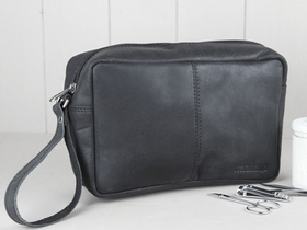 View our  Black Leather Wash Bag from the  Leather Bags & Satchels collection